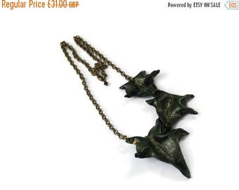 CIJ SALE 17% OFF Ivy Leaf Asymmetric Leather Necklace - Trio - Handcrafted leaves green bronze gold woodland wedding Etsy Uk Ooak unique
