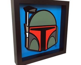 Star Wars Art Boba Fett Art 3D Pop Art Star Wars Print Star Wars Movie Poster Boba Fett Print Boba Fett Movie Poster