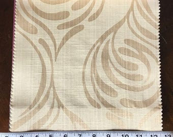 Custom Curtains Valance Roman Shade Shower Curtains in Champagne Mid Century Abstract Pattern Fabric