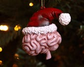 Santa Pink Brain Christmas Ornament - Tree Ornament - Handmade - Brain - Neverland Jewelry