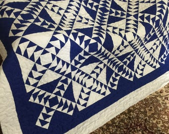 Quilt Wild Goose Chase Royal Blue and White Queen Made to Order