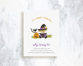 Sweet Little Witch Invitation Set | Birthday Party Invite | Halloween | Baby Shower | Fall Harvest | Pumpkin Patch