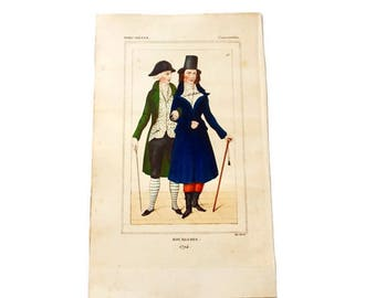 Antique French Fashion Engraving/ Hand-Colored Antique 18th Century Book Plate/1794 Bourgeois Illustration