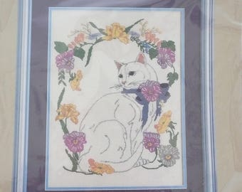 White Cat and Pansies Counted Cross Stitch Kit by Something Special, New in Package
