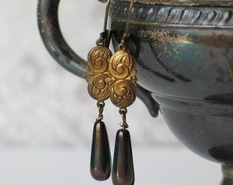 Art Deco Brass Earrings with Peacock Pearl Teardrops, 1920s and 1930s jewelry
