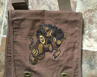 Steampunk Buffalo Canvas Messenger Bag