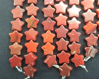 20pcs/lot - Natural Red Jasper Stone Star Beads 10mm -central drilled
