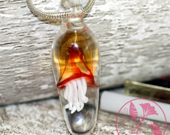 Red and Yellow Layered Bell Glass Jellyfish Pendant