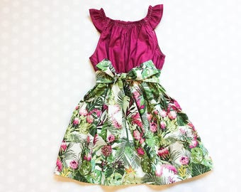 Tropical Leaf Dress - Sleeveless Dress - Girls Spring Dress - Girls Dress - Baby Girl Dress - Girls Dresses - Summer Dresses for Girls