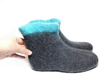 US 7 Womens slipper boots Nursing sleepwear boiled wool slippers, Wool boot slippers Wool boots for women House slippers Wool Valenki Bootss