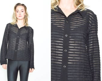 BLACK SHEER STRIPE Shirt. Long  Sleeve. Vintage 1990's Grunge Black Shirt. Zig Zag Mod Sheer Minimalist Top Size Small. Button Down Shirt