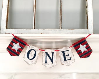 ONE Birthday Banner, Baby Boy Birthday, first birthday, red white blue, Nautical, patriotic, Birthday Boy, First Birthday Party, stars