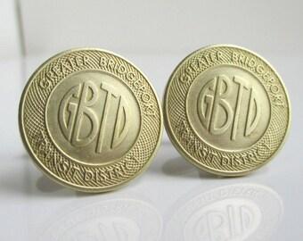 BRIDGEPORT Transit Token Cuff Links - Repurposed Vintage Gold / Brass Coins