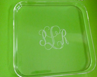 ENGRAVED Serving Tray - Large Acrylic Tray (12x12)