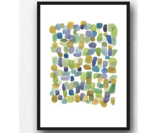 Summer sale | watercolor art print pebbles art | watercolor painting green pebbles | beach house decor