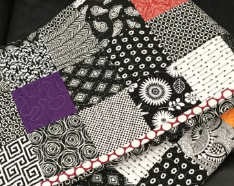 Hand Made Modern Baby Quilt, Black, White and Brights, Red Geometric Backing