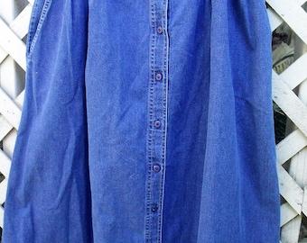 Size 18 Denim Skirt/ Vintage Koret City Blues/ Farmhouse Chic Denim/ Plus Size Retro Denim/ Thrifted Couture/ Retro Denim/ Shabbyfab Funwear