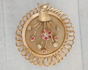 Vintage Signed Regel Flower Basket Pin, Gold Filled Mesh and Rhinestone Floral Brooch, 1/20 12K GF Jewelry, Gardener Jewelry, Gardening Gift
