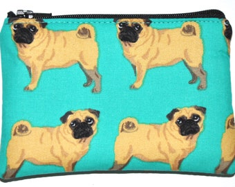 Pug Coin Purse Zipper Pouch Wallet ID Card Holder Zippered Pouch Change Purse Gift Idea