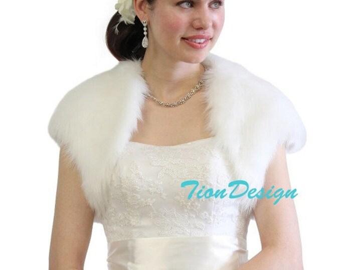 Easter Sale Faux Fur Bridal Bolero Crop Jacket, Shrug Pure White 603NF-WHI on Spring Sale