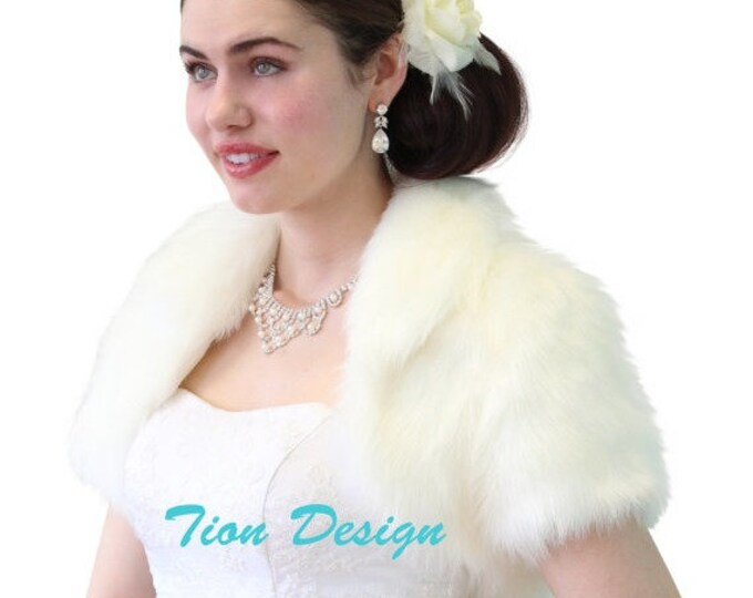 Easter Sale Ivory Faux Fox Fur Bridal Bolero Crop Jacket 680NF-IVY
