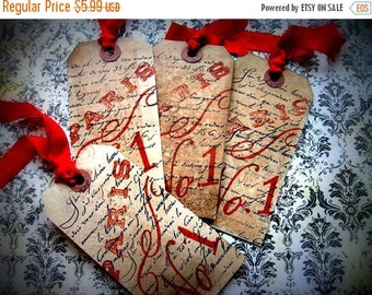 French Inspired Hang Tags - Paris #1 - set of 4 - Red Black