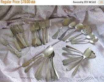 Antique Flatware - International Silver - 34 pieces Forks Spoons Serving Cottage Chic Nordic French