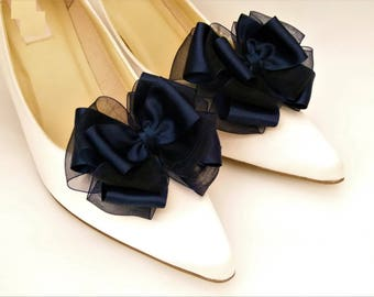 Navy Blue Shoe Clips Satin Organza Bow clips for Bridal Shoes Formal Wedding Occassion by Seriously Sassyx