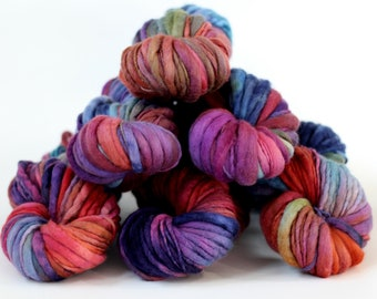 "Hand dyed yarn thick and Thin Yarn hand spun merino ""Not Shy"", OOAK, knitting yarn, dollmaking, weaving, crochet"