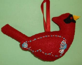 2 Hand Crafted Felt  Christmas Snow Cardinals Birds  Ornaments -White, Blue Green Embroidery