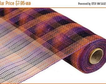 SUPPLY SALE 21 Inch Black Purple Orange Striped Deco Mesh Roll RE1059Ej, Deco Mesh Supplies
