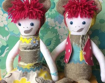 BEARCUB TWINS  -  TWIN Rag Doll  in grey candystripe Barkcloth Vintage Fabric , Forest Friends by Witty Dawn
