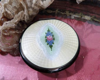 Antique Guilloche Pastel Yellow Enamel Compact with Pink Cabbage Rose Flower Spray, 1930s