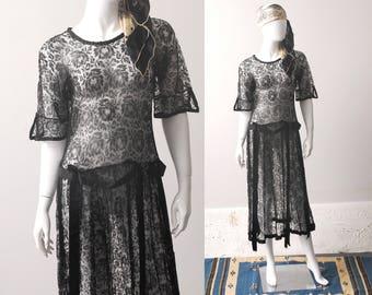 1920s Black Rose Dress / 20s Lace Dress / 20s