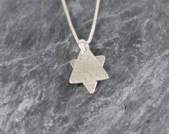Star of David Necklace, Star of David Silver Necklace Bat Mitzvah Gift, Judaica Jewelry, Sterling Silver Magen David Pendant Floral Pattern