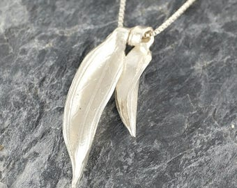 Falling Leaves Pendant, Leaf Jewelry, Sterling Silver Leaves Necklace, Foliage Silver Necklace Gift For Women Woodland Necklace