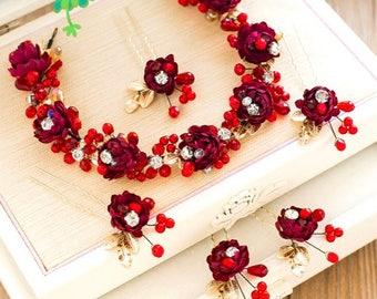 Cherry Wedding Headband Set