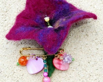 Mother of Pearl flower brooch and hearts, felted, wool and bead