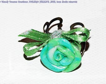 Bright green fimo ring with satin bow, adjustable