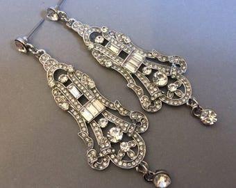 Long Art Deco Earrings Great Gatsby Earrings Rhinestone bridal earrings in silver wedding jewelry