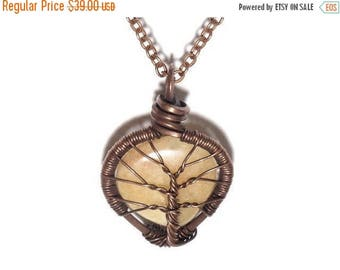 20% OFF Vacation SALE The Encased Peach Aventurine Tear Drop Tree of Life Necklace in Antique Copper.