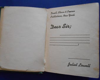Dear Sir, a Vintage Book by Juliet Lowell, 1944