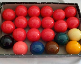 "Vintage Aramith 2 1/4"" Snooker Balls - Complete Set of 22 Balls - Made in Belgium"