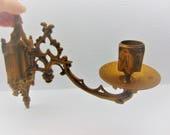Vintage   Brass Candlestick Holder, Wall Mount Candleholder