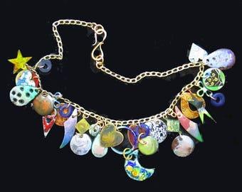 Boho Mixed Media Assemblage Necklace