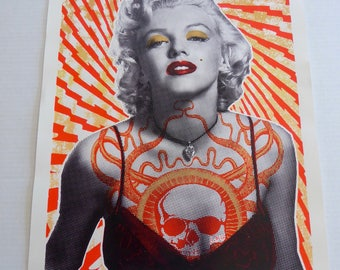 "Spectacular Signed and Numbered MARILYN MONROE Silkscreen With Skull on Chest 18 1/4"" x 24"""
