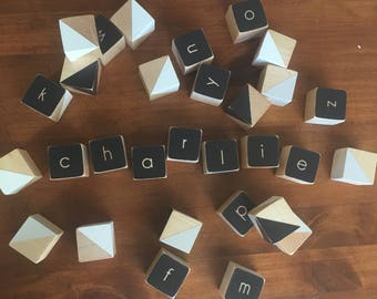 Alphabet wooden baby blocks, hand painted black, white and grey-set of 30
