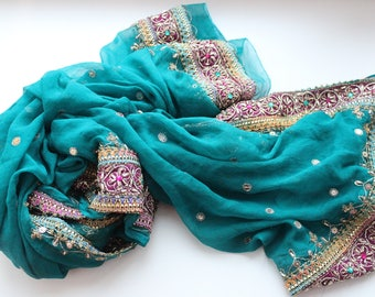 Indian vintage chiffon silk green hand embroidered dupatta. Long stole, bohemian scarf. SCM023