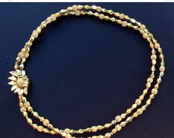 ANNIVERSARY SALE Crown Trifari Aurum Bead Two Strand Necklace with Flower Clasp