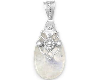 Ornate Rainbow Moonstone Pendant, 925 Sterling Silver